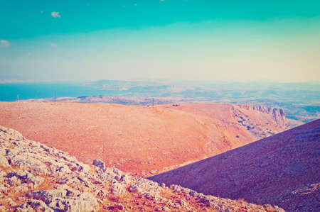 galilee: View from Galilee Mountains to Galilee Sea Stock Photo