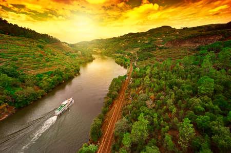 ポルトガル、ドウロ川の谷のブドウ畑