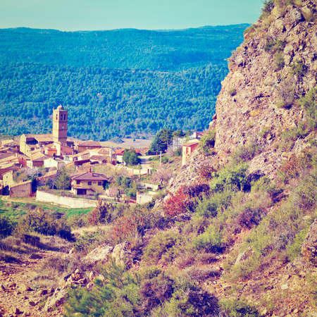 pyrenees: Spanish Medieval Town in The Pyrenees Stock Photo
