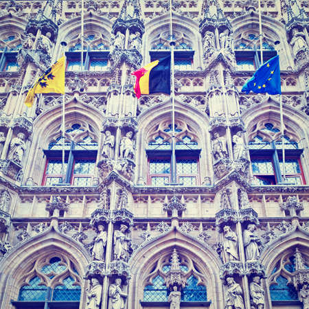leuven: Detail of the Town Hall in Belgian City of Leuven Editorial