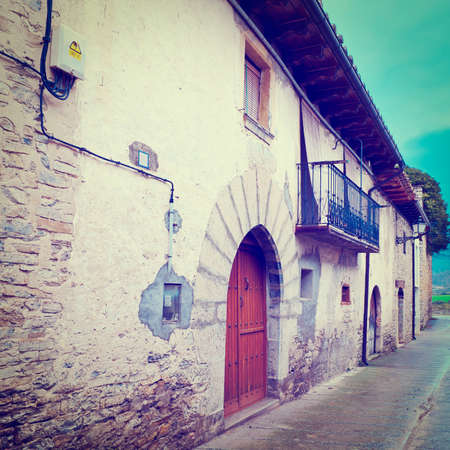 Medieval Spanish Town in Rainy Day photo
