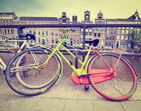 Painted Bicycle on the Embankment of Amsterdam, Instagram Effect photo