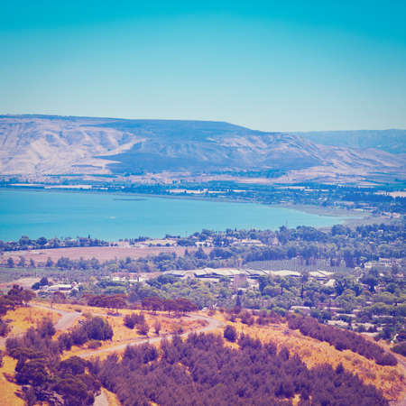 View from Galilee Mountains to Galilee Sea in Israel, Instagram Effect photo