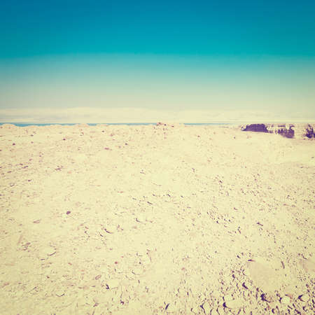 judean hills: View to the Dead Sea from the Judean Desert, Instagram Effect Stock Photo