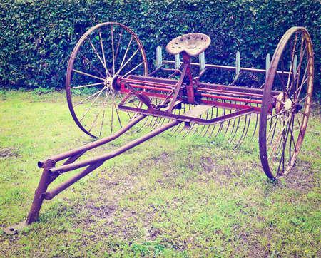 winnowing: Old Winnowing Machine on the Green Grass,