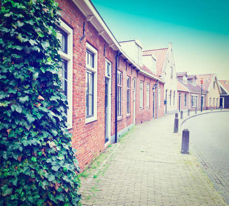 Street in the Dutch Medieval City, Retro Effect Stock Photo