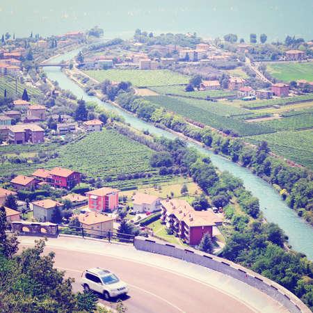Landscape with Lake Lago Di Garda in Italy, Retro Effect photo