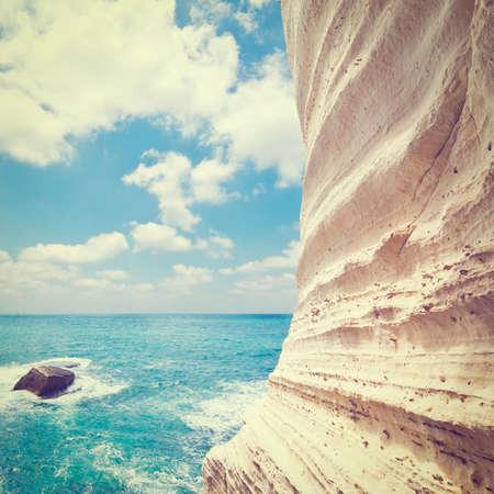 hanikra: Rosh Hanikra Cliff near Israeli- Lebanese Border, Retro Effect Stock Photo
