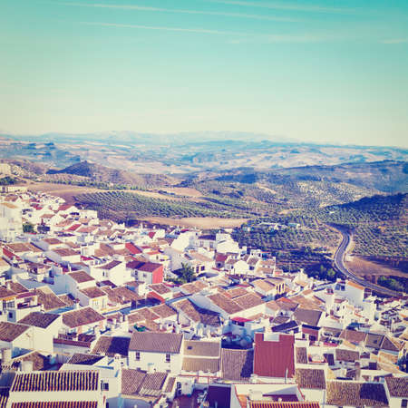 birds eye: Birds Eye View on the Red Tiles of the Spanish Town, Retro Effect