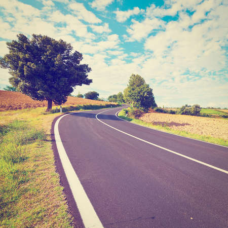 Winding Paved Road between Autumn Plowed Fields in the Tuscany, Retro Effect photo