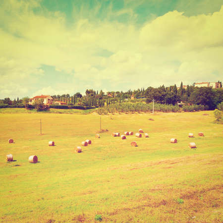 Italy Landscape with Many Hay Bales, Retro Effect photo