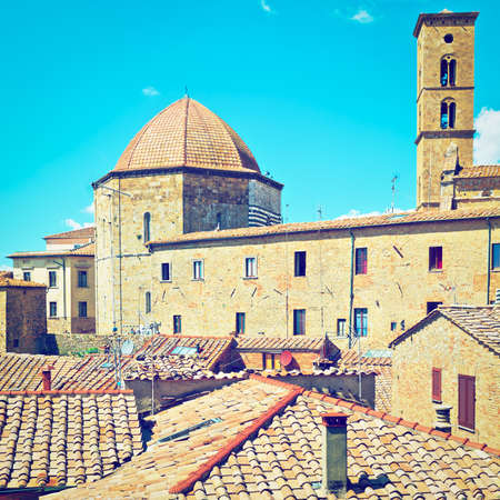 volterra: View of the Medieval City of Volterra, Italy, Retro Effect Stock Photo