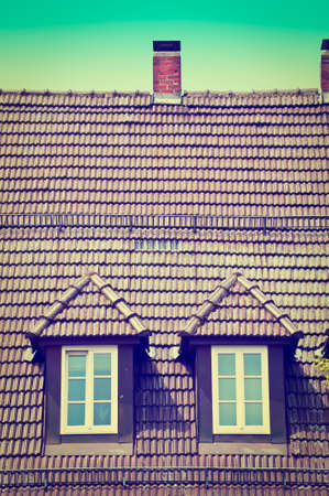 Attic with Two Windows in the South of Bavaria, Retro Effect photo