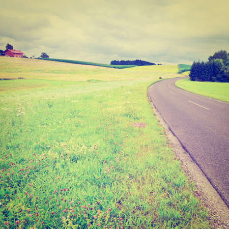 Road between Corn and Wheat Fields in Bavaria, Retro Effect photo