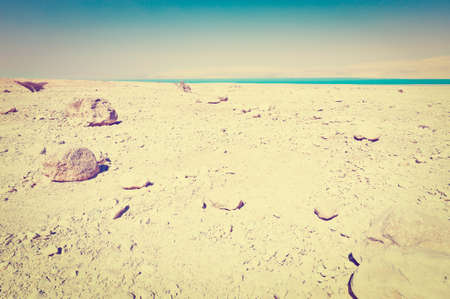 judean hills: View to the Dead Sea from the Judean Desert in Israel, Retro Effect Stock Photo