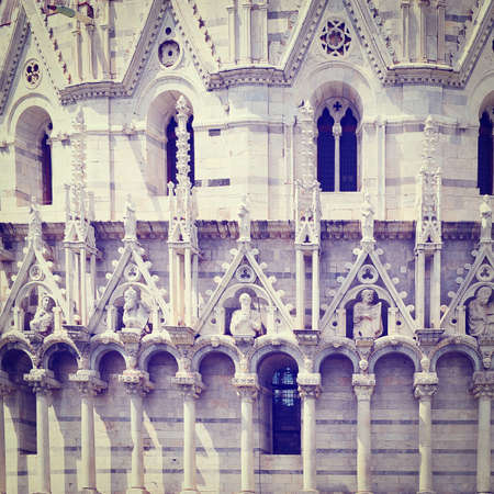 campo dei miracoli: The Baptistery on the Campo dei Miracoli in Pisa, Retro Effect Stock Photo