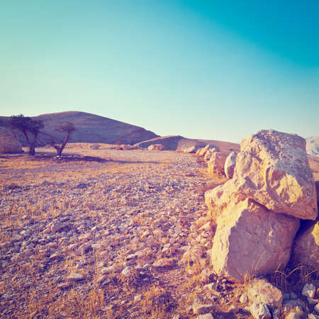 Big Stones in Sand Hills of Samaria, Israel, Retro Effect photo