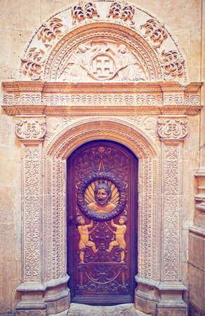 Door of the Cathedral in Burgos, Spain, Retro Effect photo
