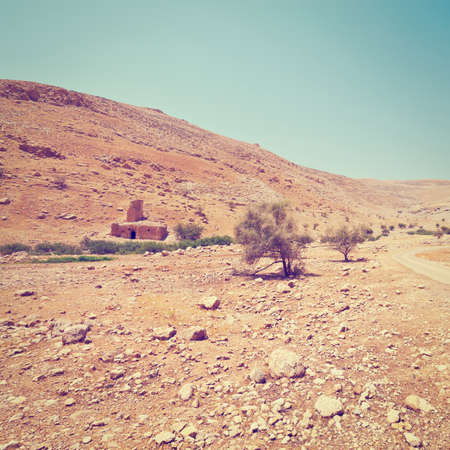 Ruins in Sand Hills of Samaria, Israel, Retro Effect photo