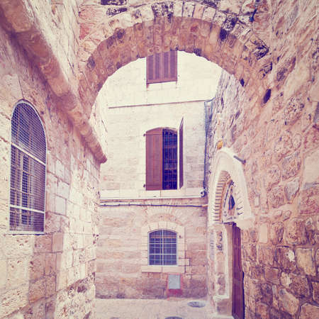 Narrow Alley in the Armenian Quarter of Jerusalem, Retro Effect photo