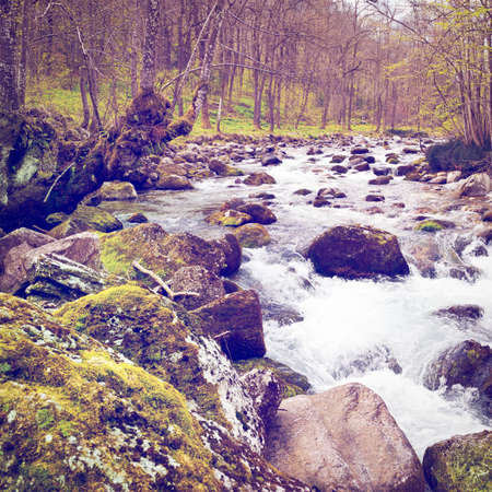 river stones: Mountain Stream in the Italian Alps, Retro Effect