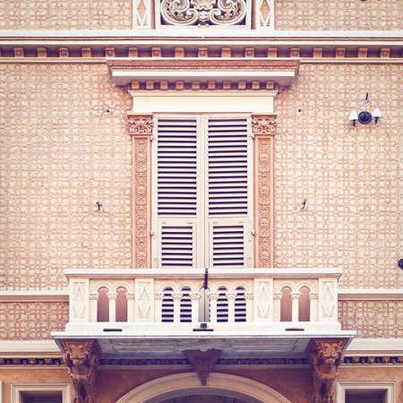 Closed Italian Windows of Old Building, Retro Effect Stock Photo - 29067100
