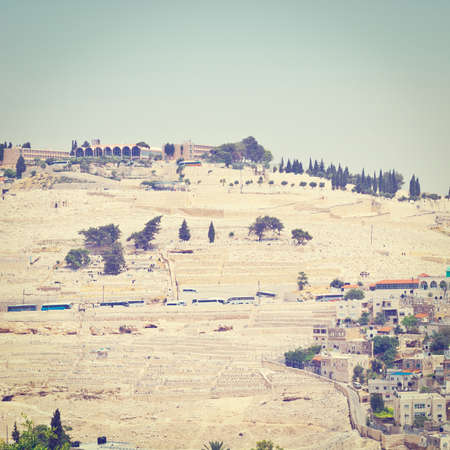 View to the East Jerusalem and Mount of Olives  from the Walls of the Old City, Retro Effect photo