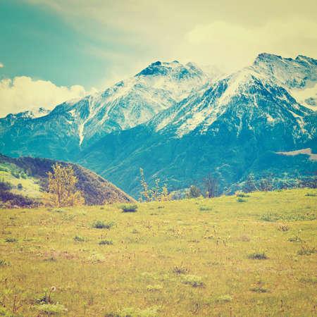 saint bernard: Saint Bernard Pass in the Italian Alps, Retro Effect