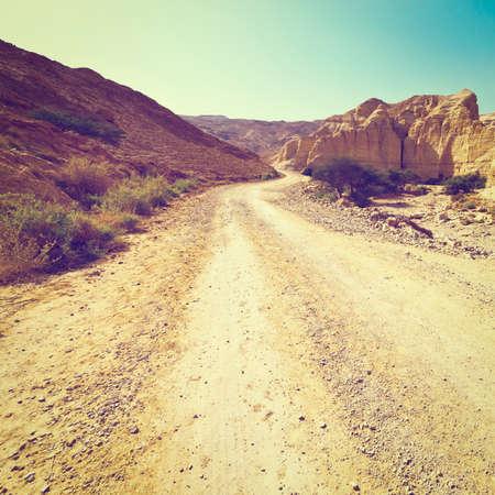 judean: Dirt Road in the Judean Desert in Israel Stock Photo