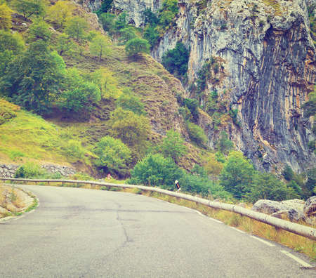 picos: Winding Paved Road in the Cantabrian Mountain, Spain Stock Photo