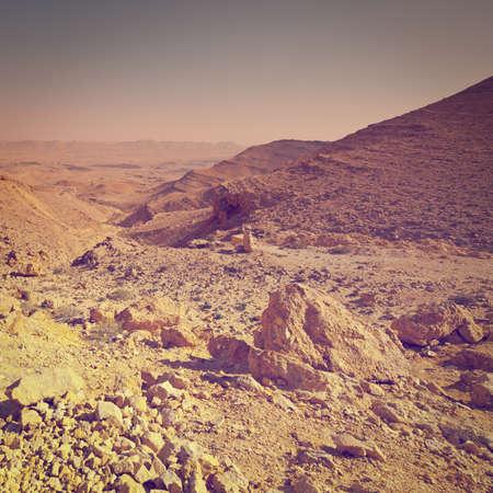 Big Stones of Grand Crater in  Negev Desert, Israel photo