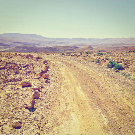 nature reserves of israel: Dirt Road in the Negev Desert in Israel