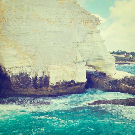 hanikra: Rosh Hanikra Cliff near Israeli- Lebanese Border