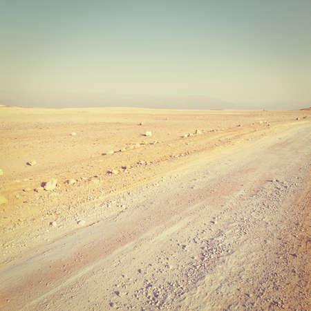 judean hills: Dirt Road in Desert on the West Bank of the Jordan River