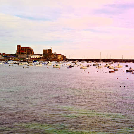 gig harbor: Boats in a Quiet Harbor on the Atlantic Coast of Spain Stock Photo