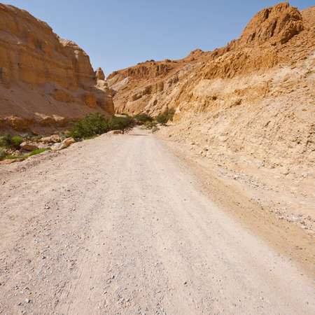 judean hills: Dert Road across Canyon in the Judean Desert  Stock Photo