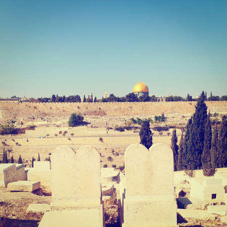 View from Ancient Jewish Cemetery  to Walls of the Old City of Jerusalem, Instagram Effect photo