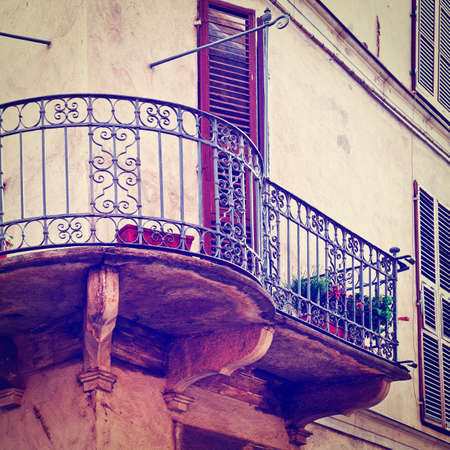 Facade of the Old Italian House with Balcony, Instagram Effect photo