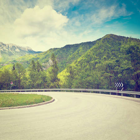 Winding Paved Road in the Italian Alps photo