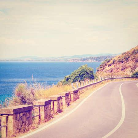 Winding Mountain Road  Along the Italian Coast photo