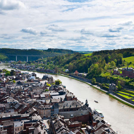 meuse: Birds Eye View to the Embankment of the River Meuse in the Belgian City of Dinant
