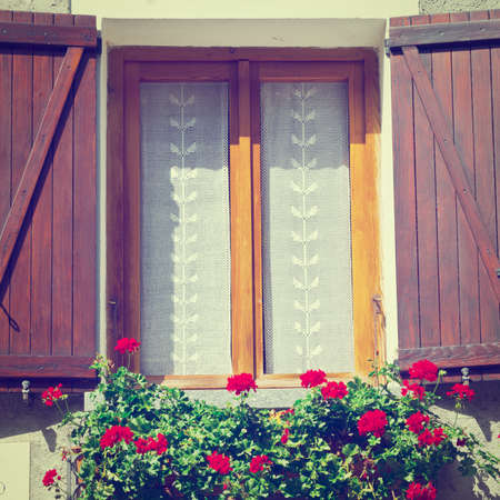 Italian Window with Open Wooden Shutters, Decorated With Fresh Flowers, Instagram Effect photo
