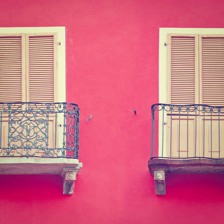 resplendence: The Renovated Facade of the Old Italian House with Balconies, Instagram Effect