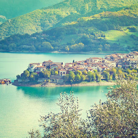 apennines: Medieval City on the Lake in the Apennines, Italy Stock Photo