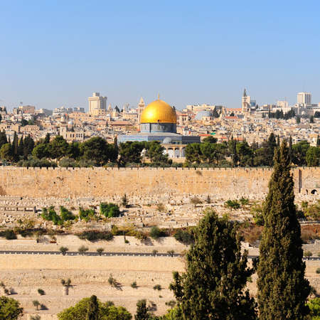 View from the Mount of Olives to Walls of the Old City of Jerusalem and the Dome of the Rock photo