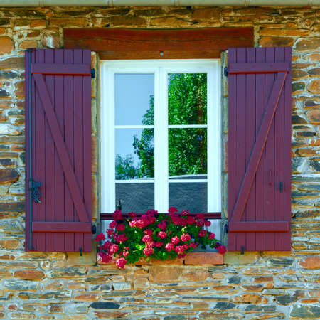 French Window with Open Wooden Shutter
