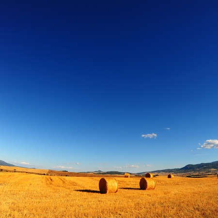 Tuscany Landscape with  Hay Bales in the Morning photo