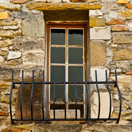 balcony window: French Window with Balcony in Viviers Stock Photo