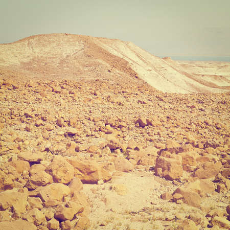View to the Dead Sea from the Judean Desert. photo