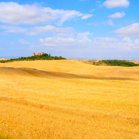 Farmhouse Surrounded By Sloping Meadows Of Tuscany photo